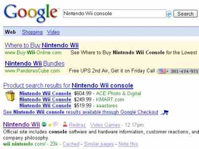 Google Search for Nintendo Wii