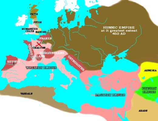 hunnic empire 453 ad